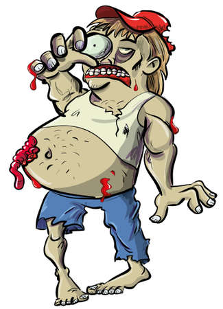 Red neck zombie cartoon with big belly and guts hanging  Isolated on white