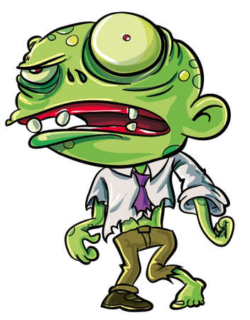 Cartoon illustration of a ghoulish undid green zombie in tattered clothing with big eye , isolated on white