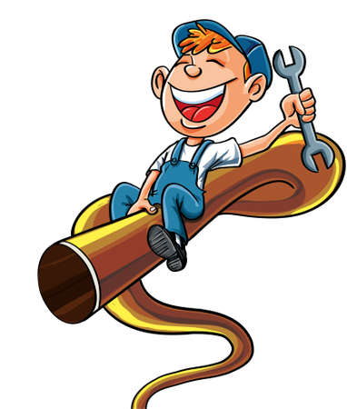 Fontanero historieta montado en un tubo de tronzado Es la celebración de una llave de una cuenta con una gran sonrisa Ilustración de vector