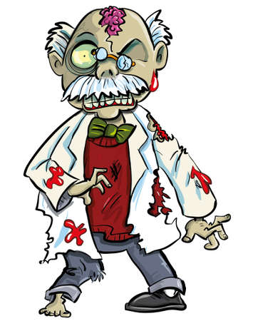 Cartoon zombie scientist with brains showing  Isolated on white Illustration
