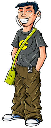 youthful: Cartoon teenage Asian boy with mp3 player and shoulder bag Illustration
