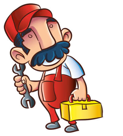 Cartoon plumber with wrench and toolkit. Isolated on white