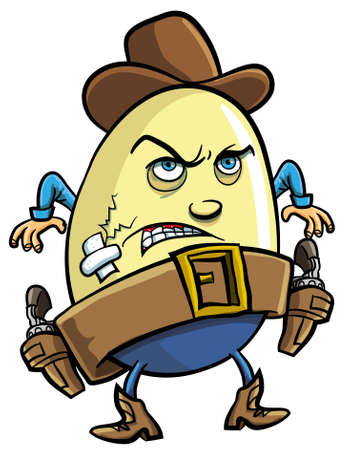 gunfighter: Humorous cartoon illustration of a cowboy egg with a hat and fierce expression standing ready to draw his guns isolated on white