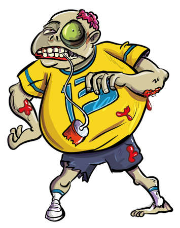 Overweight grotesque bloody zombie fan wearing a number 13 sweater giving the viewer a ghastly toothy smile , cartoon illustration isolated on white