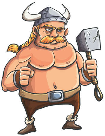 savage: Viking cartoon with a big hammer and blond hair in a ponytail. Isolated