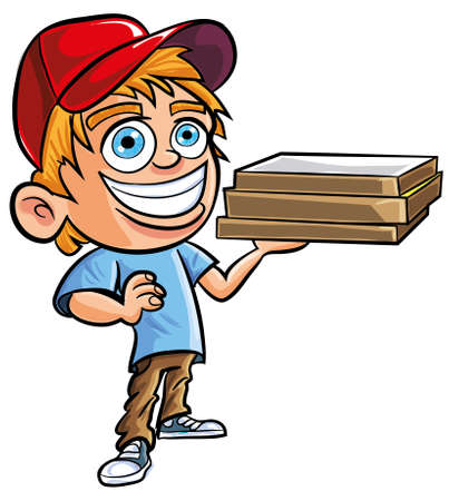 Cartoon of cute Pizza delivery boy. Isolated on white Vector