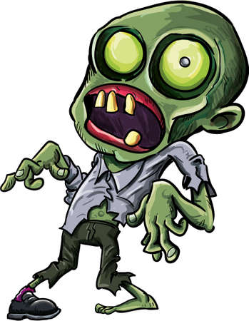 menacing: Vector illustration of a cartoon zombie with a grotesque green eye, cracked skull and ragged clothing isolated on white for your Halloween concept Illustration