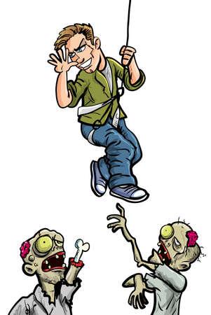 died: Ilustraci�n de dibujos animados de hombre zombies burl�ndose aislado en blanco Vectores