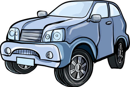rover: Cartoon illustration of a 4x4 sport utility vehicle Isolated