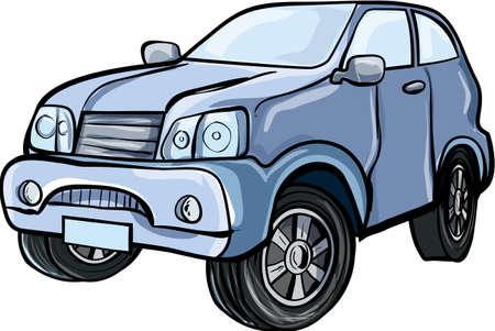 Ilustración de dibujos animados de un vehículo utilitario deportivo 4x4 Aislado