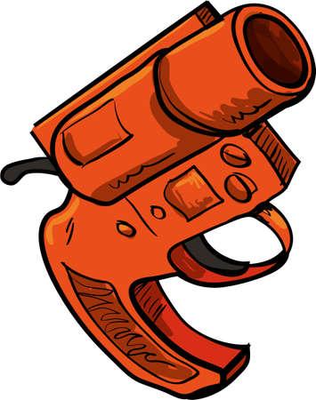 gatillo: Ilustración de la pistola de bengalas aislado en blanco