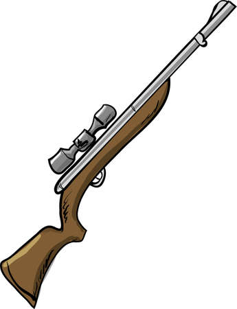 Illustration of a hunting rifle  Isolated on white