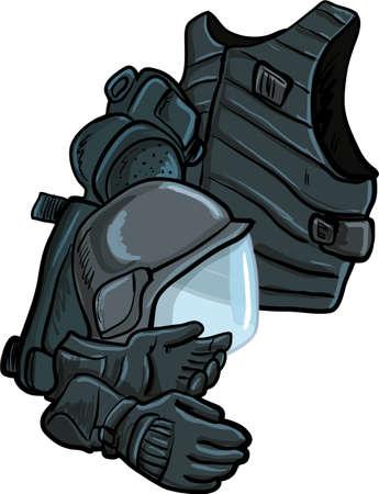 Illustration der modernen Körper Rüstung isoliert auf weiß Vektorgrafik