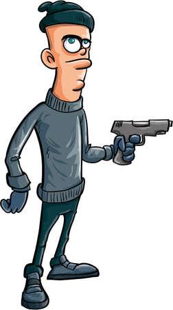 atracador: Ladr�n de dibujos animados con una pistola aislado en blanco