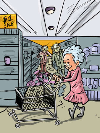 gore: Cartoon granny shopping in a zombie infested shop Illustration