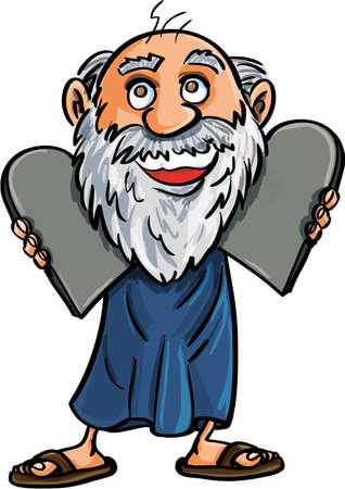 kopftuch: Moses mit den Zehn Geboten isoliert auf wei� Illustration