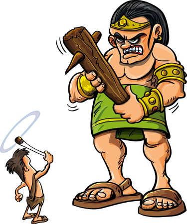 historias biblicas: Cartoon David y Goliat aislado en blanco
