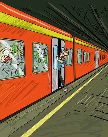 sobreviviente: Dibujos animados de tren lleno de zombies con un superviviente tratando de salir