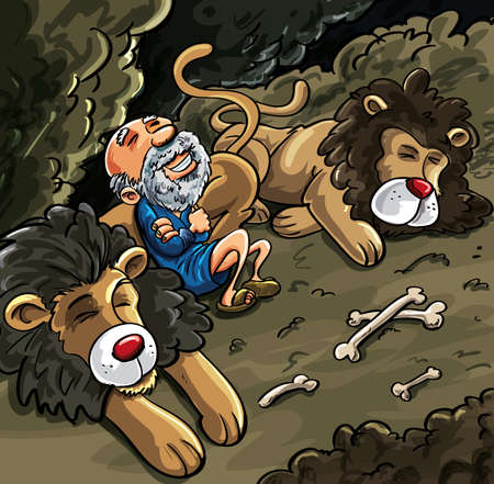 biblical: Daniel in the lions den cartoon. Bones laying about but Daniel is not worried Illustration