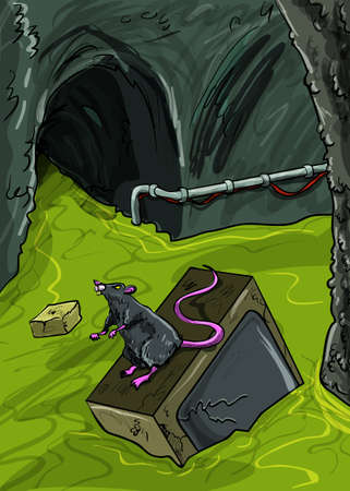 dead rat: Sewer illustration with broken tv floating in the sewer with a big rat