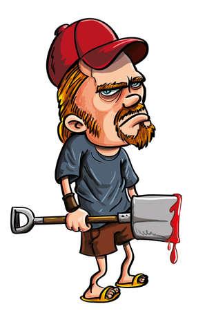 hillbilly: Redneck spade killer holding a bloody spade