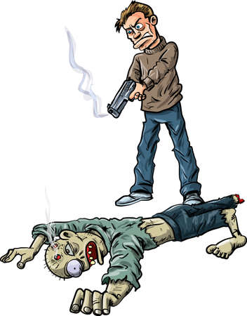 hand gun: A survivor has killed a zombie by shooting him in the head