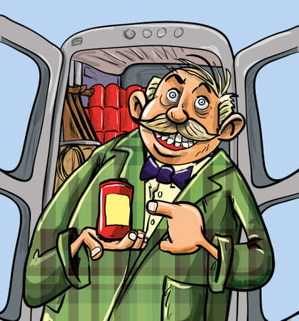 Cartoon Sale hombre que vende su mercancía fuera de su coche Foto de archivo - 19985482