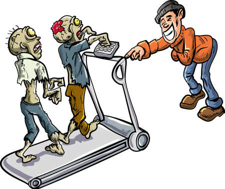 macabre: Zombies on a treadmill  Survivor laughing at them