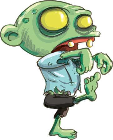 Ilustración de dibujos animados de un macabro deshizo zombie verde, aislado en blanco