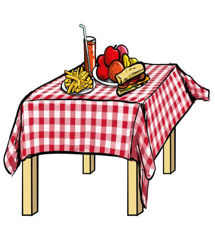 picnic table: illustration of a picnic table with food on it  Isolated on white