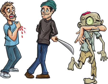 menacing: Cartoon of zombie biting a mans arm off  isolated on white