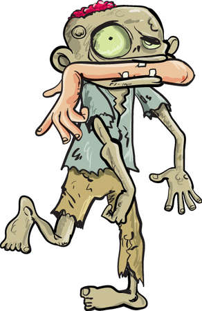 Cartoon zombie carrying a human arm in his mouth  Isolated on white
