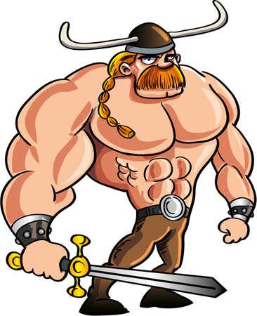 cartoon warrior: Cartone animato vichingo con una grande spada e capelli biondi in una coda di cavallo isolato Vettoriali