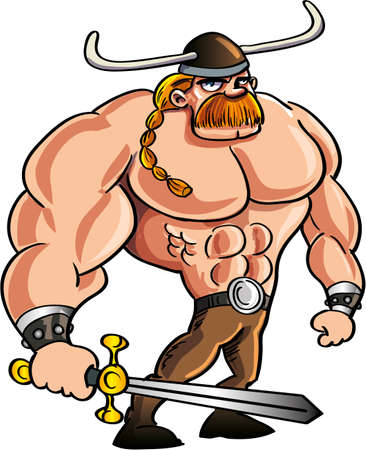 vikingo: Historieta vikingo con una gran espada y el pelo rubio recogido en una coleta Aislado