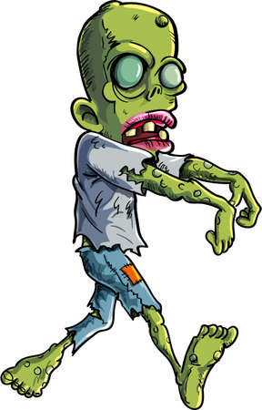 menacing: Cartoon stalking zombie writ ripped clothes  Isolated on white Illustration