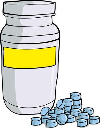 blue pills: Bottle of medicinal pills Blue pills scattered around the bottle Illustration
