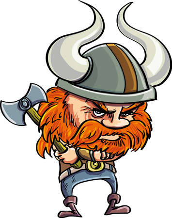 scandinavian people: Cute cartoon viking with helmet. Isolated on white