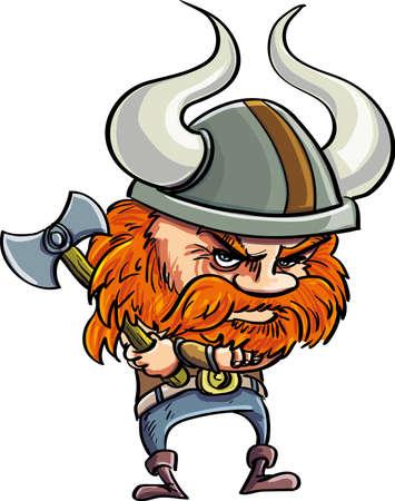 Cute dibujos animados viking con casco. Aislado en blanco Foto de archivo - 20352217