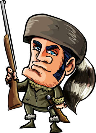 hunter man: Cartoon of Davy Crockett with coonskin hat. Isolated