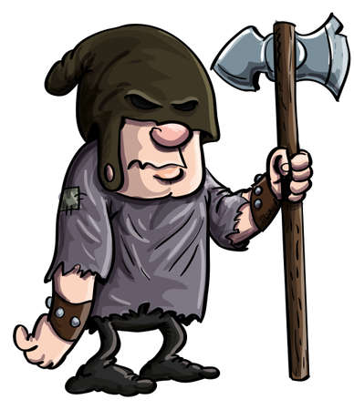 大きな斧を持つ漫画の死刑執行。白で隔離されます。