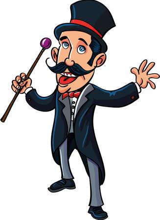 Cartoon circus maître de l'anneau avec une canne. isolé sur blanc