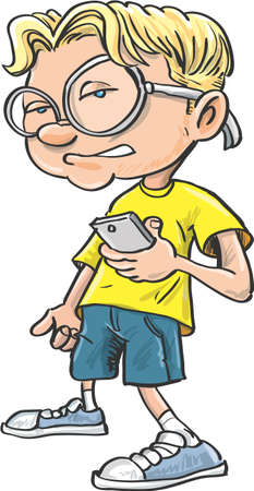 boffin: Cartoon nerd with glasses and a mobile phone. Isolated Illustration