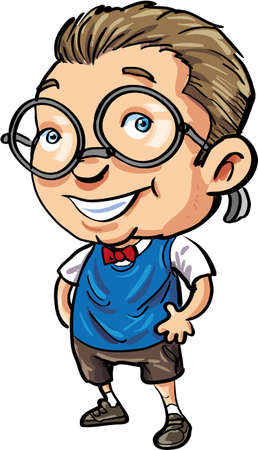 Cute Cartoon nerd with a bow tie