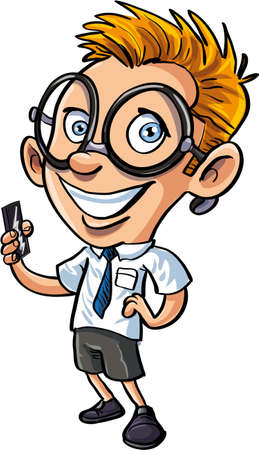 geek: Cute cartoon nerd with mobile phone Illustration