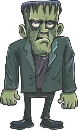 Cartoon green Frankenstein monster with big eyes