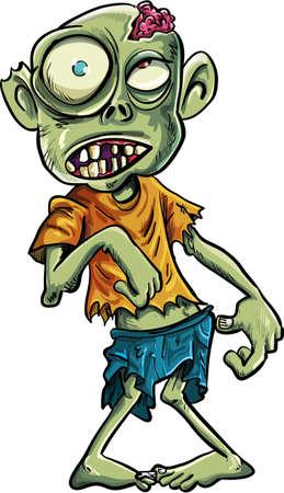 occhi grandi: Zombie del fumetto con gli occhi grandi. Isolati su bianco Vettoriali