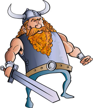 barbarian: Viking cartoon with a big sword. Isolated