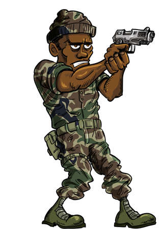 Cartoon soldier with a hand gun. Isolated Stock Vector - 22224428