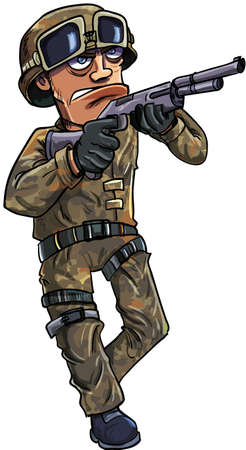 weaponry: Cartoon soldier with a shotgun. Isolated