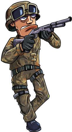 gunman: Cartoon soldier with a shotgun. Isolated